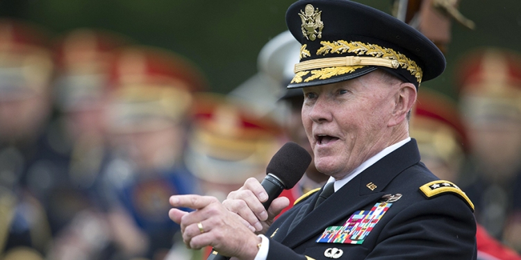 Outgoing Chairman of the Joint Chiefs of Staff Gen. Martin E. Dempsey speaks at his retirement ceremony last week. DOD photo