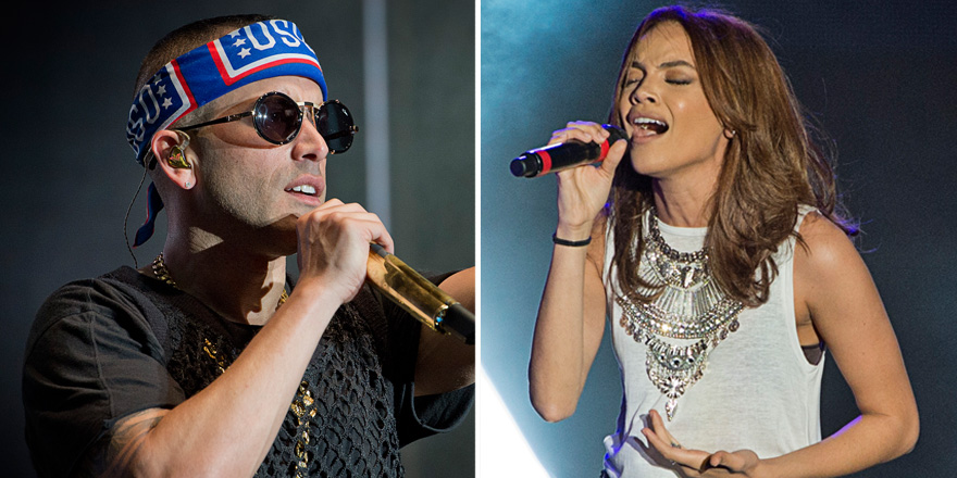 Yandel, left, and Leslie Grace played a USO show for troops and families on Sept. 26 at Fort Bliss, Texas. USO photos by Dave Gatley